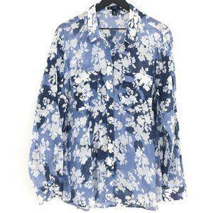 GAP Utility Boyfriend Fit Blue Floral Print Shirt